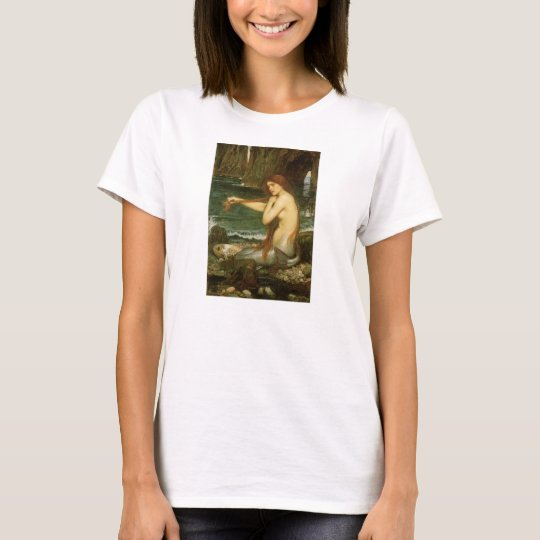 Mermaid by JW Waterhouse, Victorian Mythology Art T-Shirt
