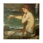Mermaid by JW Waterhouse, Victorian Mythology Art Tile