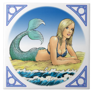 Mermaid by the sea tile