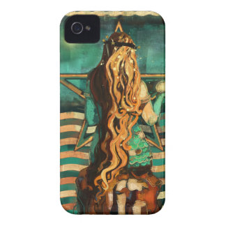 Mermaid by the Sea with Moon and Stars iPhone 4 Case-Mate Case