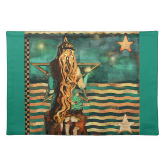 Mermaid by the Sea with Moon and Stars Placemat