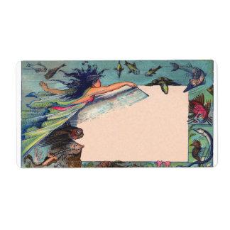 mermaid card shipping label
