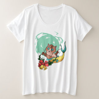 Mermaid Cat With Christmas Garland Plus Size T-Shirt