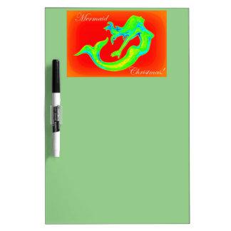 Mermaid Christmas green Dry Erase Board