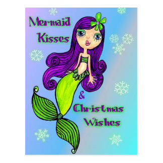 Mermaid Christmas Postcard