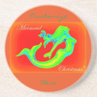 mermaid christmas red coaster