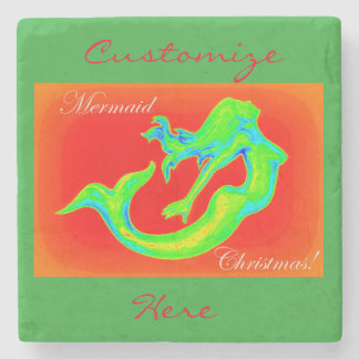 mermaid christmas red/green stone coaster