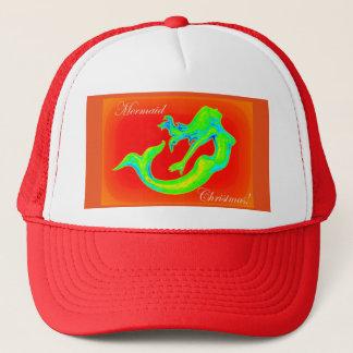 mermaid christmas red trucker hat
