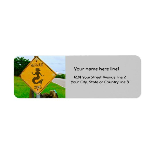 Mermaid Crossing Road Sign Return Address Label