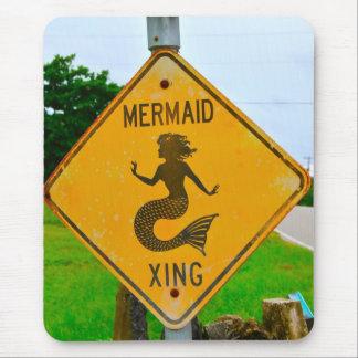 Mermaid Crossing Roadsign Mouse Mat