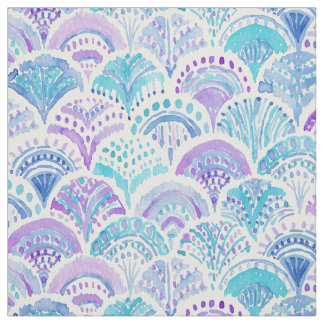 MERMAID DAYDREAMS Watercolor Boho Beach Fish Scale Fabric