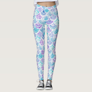 MERMAID DAYDREAMS Watercolor Boho Beach Fish Scale Leggings