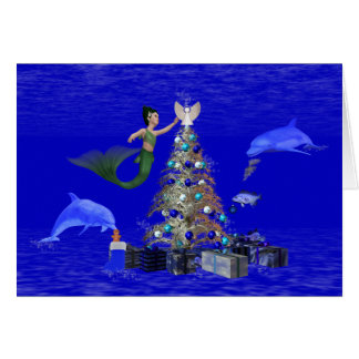 Mermaid decorating the christmas tree greeting card