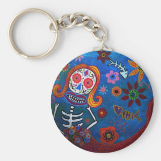 MERMAID   DIA DE LOS MUERTOS BASIC ROUND BUTTON KEY RING