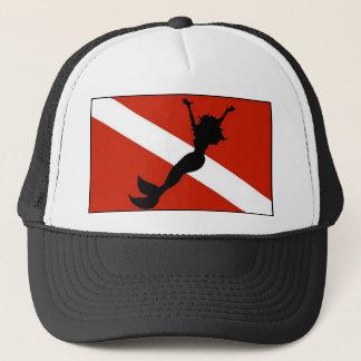 Mermaid Diver Flag Trucker Hat