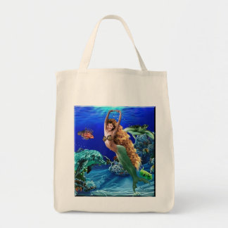 Mermaid, Dolphin, Turtle and Fish Grocery Tote Bag