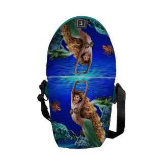 Mermaid, Dolphin, Turtle and Fish Messenger Bag