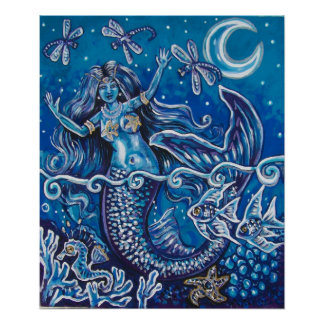 mermaid dragonfly night poster