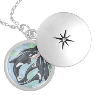 Mermaid Fairy Orca Killer Whale Locket Necklace