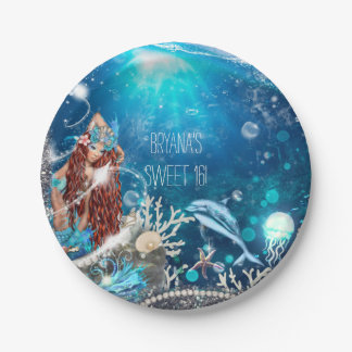 Mermaid Fantasy Red Head Enchanted Beach Party 7 Inch Paper Plate