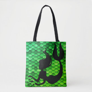 Mermaid Figure & Tail Scales Tote Bag