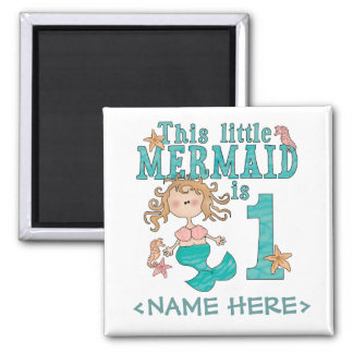 Mermaid First Birthday Square Magnet