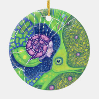 Mermaid & fish, underwater fantasy, nautical art christmas ornament