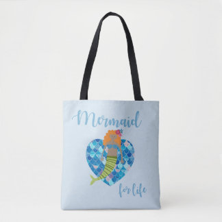 Mermaid For Life Girl's Beach Tote | Blue