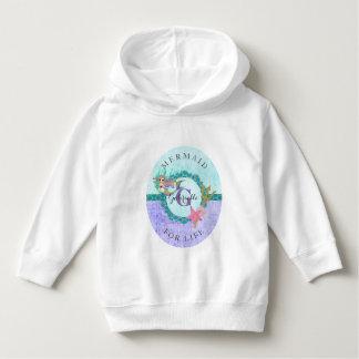 Mermaid For Life Purple Monogram Name Baby Girl Hoodie