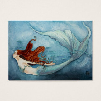 Mermaid Gift Tag Red B3 Business Card