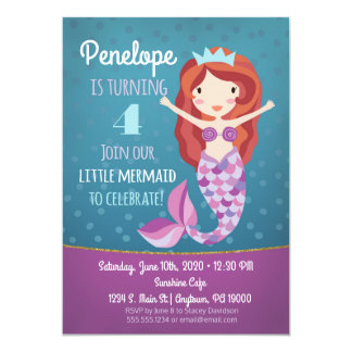 Mermaid Girls Birthday Invitation Purple Whimsical