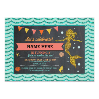 Mermaid Gold Coral Glitter Invitation