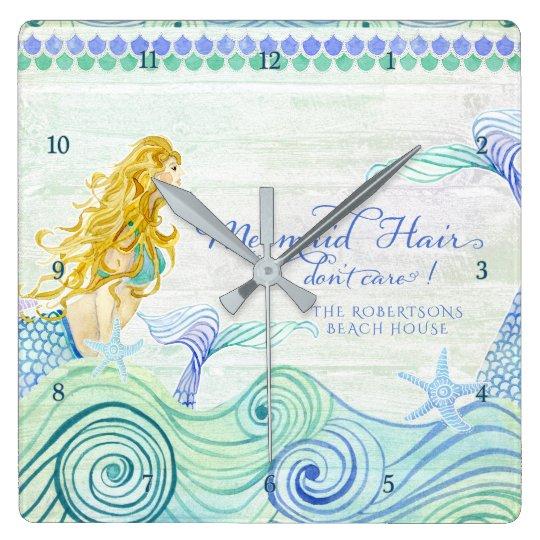 Mermaid Hair Beach House Personalised Watercolor Square Wall