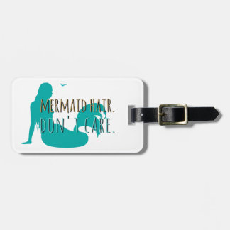 Mermaid Hair Don't Care Aqua Beach Vacation Custom Luggage Tag