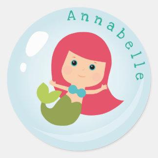 Mermaid in a  Bubble Classic Round Sticker