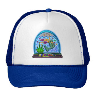 Mermaid in Florida Globe Print Cap