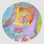 Mermaid in my kitchen round stickers