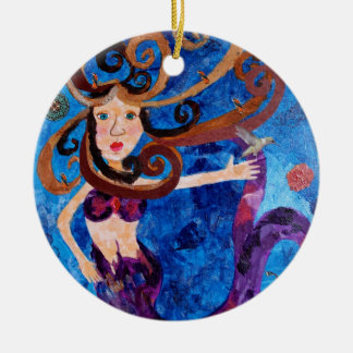 Mermaid in the Sea with Birds Art Painting Round Ceramic Decoration