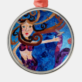 Mermaid in the Sea with Birds Art Painting Silver-Colored Round Decoration