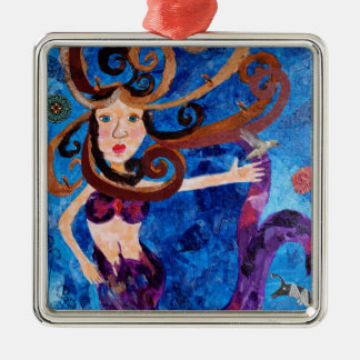 Mermaid in the Sea with Birds Art Painting Silver-Colored Square Decoration