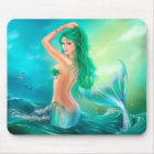 Mermaid in the Sunset with Green Hair Mouse Mat