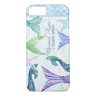 Mermaid Kisses Starfish Wishes Saying  Watercolor iPhone 8/7 Case