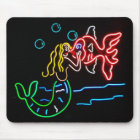 Mermaid Kissing Fish in Neon Mouse Mat