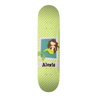 Mermaid; Lime Green & White Stripes Custom Skate Board