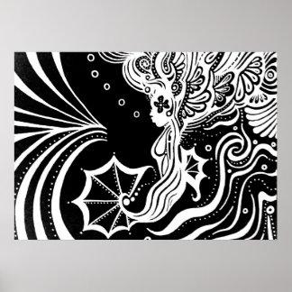 Mermaid line art poster