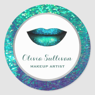 mermaid lips on faux sequin classic round sticker
