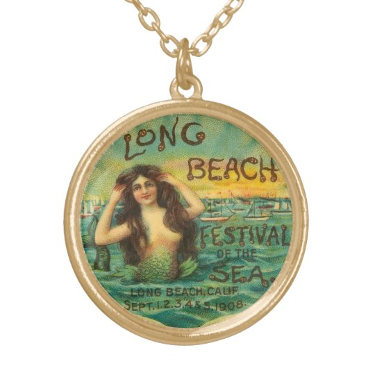 Mermaid Long Beach 1908 Vintage Art Jewellery Gold Plated Necklace