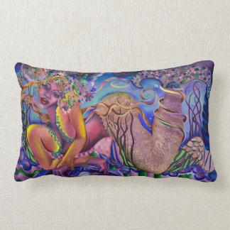 "Mermaid Lumbar Pillow, bright tones,  13"" x 21"" Lumbar Pillow"