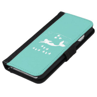 Mermaid Mint White Silhouette Phone Wallet Case