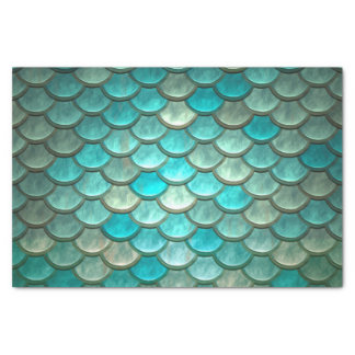 Mermaid minty green fish scales pattern tissue paper